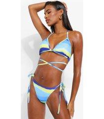 ombre bikini top met bandjes, blue