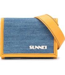 sunnei logo print trifold wallet - blue