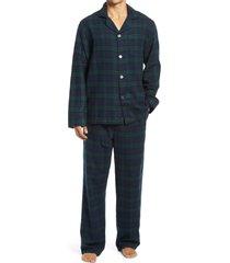 men's l.l.bean men's scotch plaid flannel pajamas, size large - black