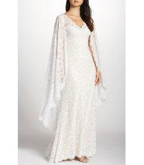 women's tadashi shoji cape detail lace gown, size 10 - ivory