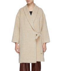 shawl collar side tie mohair coat
