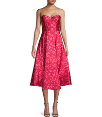 leaf-print fit-&-flare dress