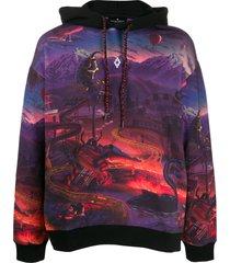 marcelo burlon county of milan fantasy print hoodie - purple