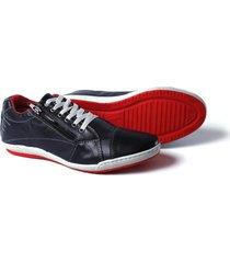 sapatenis couro tchwm shoes masculino ziper lateral dia dia azul marinho