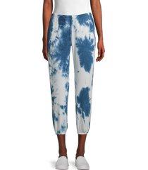 tiana b women's tie-dye cropped jogger pants - blue white - size xl