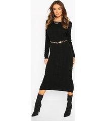 grof gebreide midi jurk, zwart
