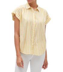 blusa manga corta drapey rayada amarillo gap