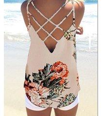 yoins beige sin espalda diseño estampado floral redondo cuello top