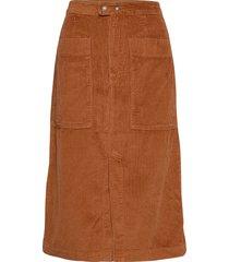 a-line corduroy midi skirt knälång kjol brun gap