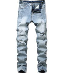 destroyed light wash tapered casual jeans