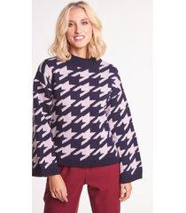 granatowo-różowy sweter z alpaką