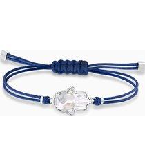 braccialetto swarovski power collection hamsa hand, azzurro, acciaio inossidabile