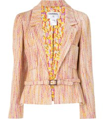 chanel pre-owned 2001 vertical stripe belted blazer - multicolour