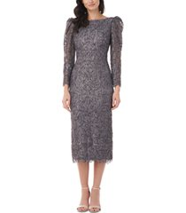 js collections puff-sleeve lace midi dress
