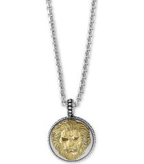 "effy men's two-tone lion's head 22"" pendant necklace in sterling silver and 18k gold-plate"