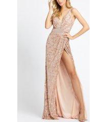 mac duggal embellished v-neck gown with high slit