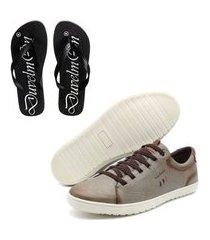 kit sapatênis masculino de couro e chinelo masculino conforto cinza
