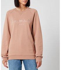 balmain women's satin logo sweatshirt - beige - s