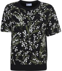 red valentino short sleeve embroidered sweater