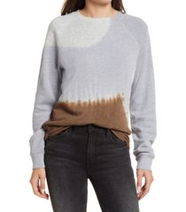 treasure & bond toe dye organic cotton blend sweatshirt, size x-large in blue feather- brown combo at nordstrom