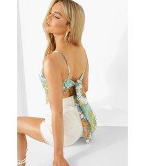 sjaal print top met rug strik, turquoise