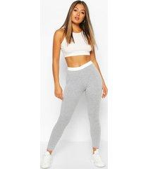 contrast elastic waistband legging, grey