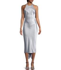 cushnie women's sleeveless pencil silk charmeuse dress - pearl blue - size 6