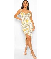 chain print rouched thigh split midi dress, white