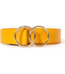 cinturon hebilla doble circulo amarillo guinda