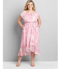 lane bryant women's multi-way neckline high-low maxi dress 18/20p pink/white floral