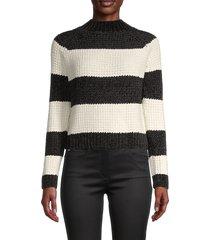 cocobleu women's colorblock funnel-neck sweater - black white - size s