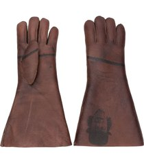 undercover printed midi gloves - brown