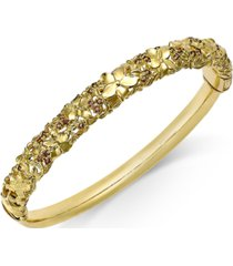 garnet floral openwork bangle bracelet (3/4 ct. tw.) in 14k gold-plated sterling silver (also available in smoky quartz)