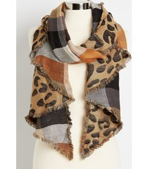 maurices womens reversible leopard plaid oblong scarf