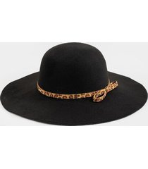 luann leopard band floppy hat - black