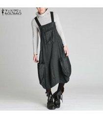 zanzea vestido de camisa larga con tirantes para mujer vestido de faldas con tirantes vestido sin mangas plus (no incluye la camisa y la mochila) -gris oscuro