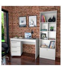 conjunto para escritório nova mobile mesa gaveteiro e livreiro