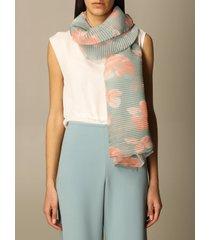 emporio armani scarf emporio armani pleated foulard with floral pattern