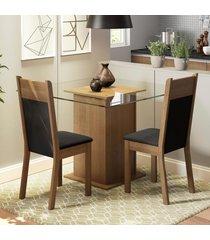 conjunto sala de jantar madesa moni mesa tampo de vidro com 2 cadeiras marrom - marrom - dafiti
