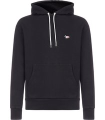 maison kitsuné tricolor fox-logo cotton hoodie