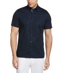 men's untucked stretch solid poplin short sleeve button-down shirt