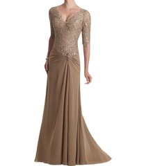 dislax v-neck half sleeve lace appliqued chiffon mother of the bride dresses cha