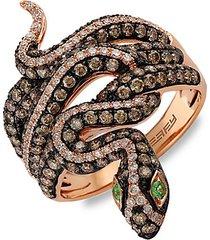safari 14k rose gold diamond snake ring