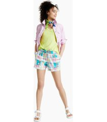style & co madras track shorts, created for macy's