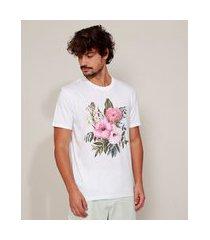 camiseta masculina flores manga curta gola careca branca