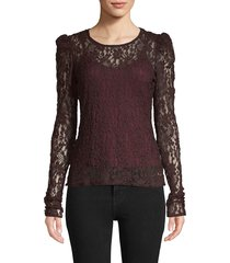 bailey 44 women's floral lace top - currant - size xs