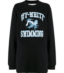 off-white swimming print sweatshirt - black