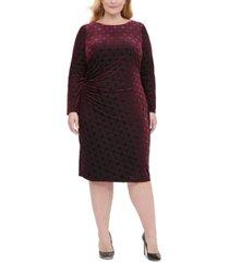 tommy hilfiger plus size long-sleeve velvet burnout sheath dress