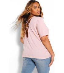 plus cross back t-shirt, blush