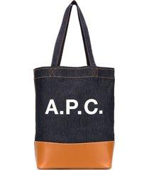a.p.c. axelle logo tote bag - blue